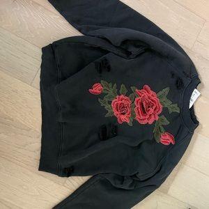 Emma & Sam LF Rose appliqué distressed sweatshirt
